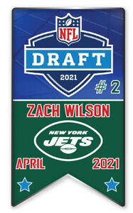 NEW YORK JETS PIN 2021 NFL DRAFT #2 PICK ZACH WILSON BANNER STYLE