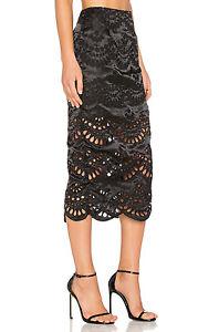 Keepsake True Faith Black Lace Cut Out Midi Skirt High Waist Embroidery XS S