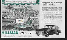 HILLMAN MINX SEDAN 4 DOOR FOR 1953 ROOTES MOTORS INC EUROPEAN DELIVERY AD