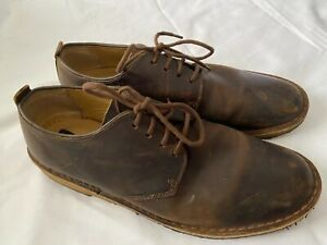 CLARKS Originals Desert London Beeswax Brown Leather Oxfords Shoes Size 10.5 M