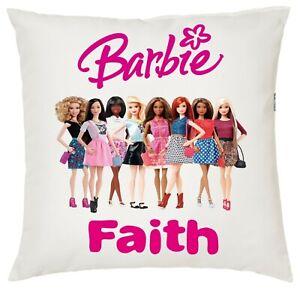 Personalised Kids Barbie Soft Cushion Cover, 40x40cm Boys/Girls