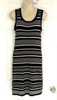 Banana Republic Factory Womens Dress Size XS Black White Striped Knit Midi Shift