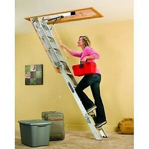 Attic Folding Ladder Pull Down Stairs Aluminum Loft Door Storage Garage 375 LBs
