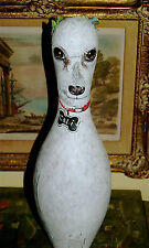 Hand PAINTED Bowling Pin dog portrait ANY BREED Poodle Bijon Frise ANY pet