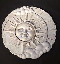 """Round Resin Sun Cloud Face Garden Wall Plaque - 12"""" diameter -Sun Wall Sculpture"""