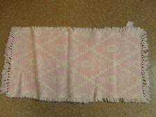 Hand Woven Area Throw Rug Rectangle Pink Quilted Rose Fringe Ends 22x40