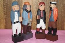 Set Of 4 Vintage Wood Carved Figure Fisherman Nautical Decor 6 inches Tall