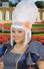 BIANCO Drag Regina Parrucca pantomima Dame con Perle Rosa & Fiore FANCY DRESS