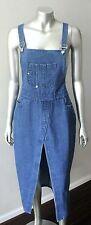Denim Overalls Vintage 90s Blue Medium Wash Jumpsuit Jumper wrap Dress Sz L