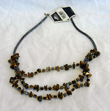 Triple Row Hematite and Tiger's Eye Necklace - BNWT