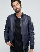 New Blue Leather Jacket Men Flight/Bomber Pure Lambskin Slim Size S M L XL XXL