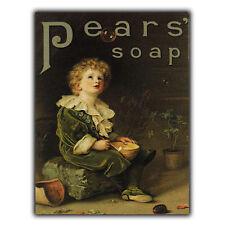 Pears Soap Métal Signe Plaque murale vintage salle de bain cuisine pub art imprimé 1890