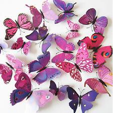 12pcs 3D Farfalla Adesivi ARTE Decalcomanie Adesivi Muro Porta Stanza Arredamento Casa Viola -