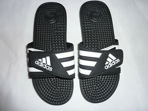 Men's Adidas Adissage Sliders Sandals Slides Flip Flops Black White UK 8 Eu 42