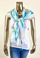CHICO'S *NWT ONE SIZE BLUE TEN PAISLY TASSEL SQUARE SCARF $64