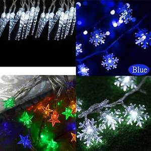 20 LED Christmas Lights Battery Fairy Snowflake Stars Ice Drop Effect Tree Decor