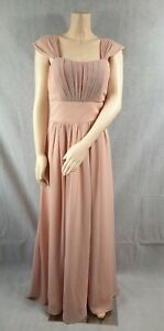 Angel Star Peach Straps Ruched Long Chiffon Bridesmaid Party Prom Dress UK 16