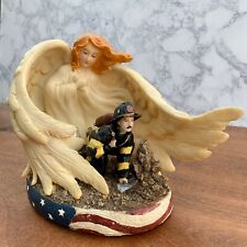 """Fireman Protected by Angel - Firefighter Statue Figurine Light - 6-1/2"""" Tall"""