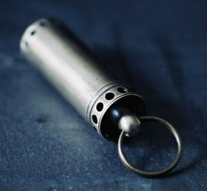 BRASS SHOTGUN SHELL VIAL CAPSULE PILL BOX CONTAINER HOLDER KEYCHAIN KEYRING EDC