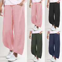 Mode Femme Pantalon Taille elastique Poches Casuel en vrac Jambes larges Plus