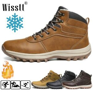Mens Winter Snow Ankle Boots Soft Fur Lined Waterproof Outdoor Hiking Work Shoes