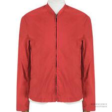 Raf Simons Red Cotton-Blend Stand Collar Lightweight Summer Jacket XS IT44