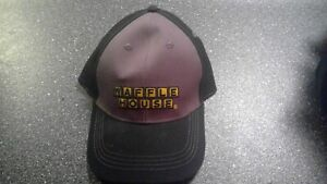 gray and black waffle house hat