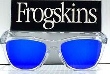 NEW* Oakley Frogskins Clear Crystal Polarized Blue Iridium Sunglass oo9245- A