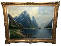 Fine German School Oil Painting Impressionism Early 20th Century Norwegian Fjord