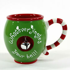 Hallmark WHATEVER JINGLES YOUR BELL 14oz Mug Christmas Green Red Peppermint