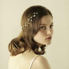 Retro Gold Crystal Pearls Chain Headband Wedding Prom Bridal Hair Accessory