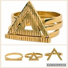 3pcs Golden Tone Triangle Rings Set Kit Jewelry Metal Alloy Gift
