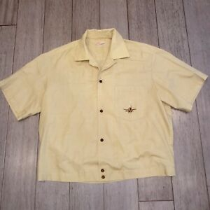 Vtg 50s 60s Ross Sutherland Shirt Hawaii Loop Collar Midcentury Gaucho Men LARGE