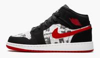 "Air Jordan retro 1 MID SE ""News Paper"" gs gradeschool white black red og 4y-7y"