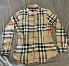 Burberry Brit Collard Button Up Shirt Plaid Women's Size Large