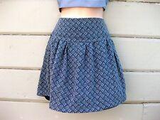 Madewell 100% Silk Blue White Diamond Print Drop Waist Mini Skirt Lined Wms 4