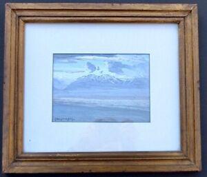 """Carl Oscar Borg Signed Gouache Painting Of Santa Cruz Island Framed 11"""" X 13"""""""