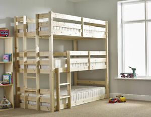 3 Sleeper Bunk Bed Childrens Bedroom Furniture Three Single Cabin Triple Wood