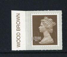 £1 - year code M16L - COLOUR TAB (WOOD BROWN) SINGLE  - EX COUNTER SHEET (PBP)