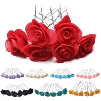 6 Rose Hair Pins Grips Flower Wedding Bridesmaid All Colours Accessories 35DI