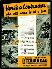 1940 Le Tourneau Equipment New Metal Sign: Rooters, Bulldozers, Carryalls - CAT