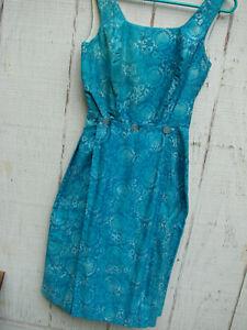 Vintage 60s Capri Length Jumpsuit with 2 Buttoned Panels Hawaiian Blue XS S FC