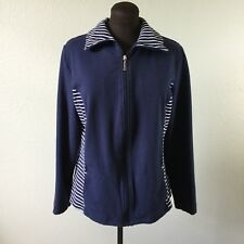 Karen Scott Sport Womens Jacket Sweatshirt Full Zip Navy Stripe Nautical Size XL