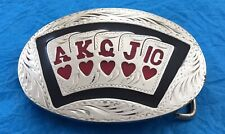 Vintage Mint ROYAL FLUSH IN HEARTS Poker Cards WSOP Casino Gambling BELT BUCKLE