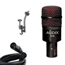 Audix*D4+DRUM RIM CLIP*Microphone Instrument Mic Bundle with XLR Cable FREE2DAY