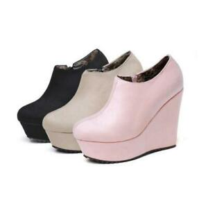 Hot Women Ladies Platform Ankle Boots Big Size Faux Suede High Heels Wedge Boots