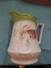 New listing pitcher - 6 inches tall - green and white with floral design   #86