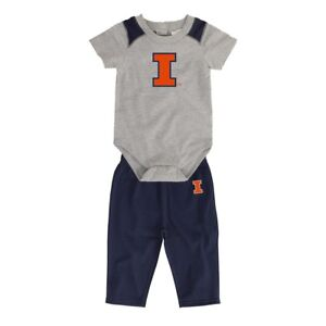 "Illinois Fighting Illini NCAA Grey ""Ellipse"" Creeper & Pants Set Newborn (3M-9M)"
