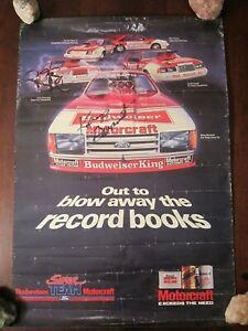 "Kenny Bernstein Larry Cummings Budweiser King Motorcraft Signed 22""x32"" Poster"