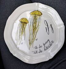 Anthropologie Linea Carta Calligrapher Canape Snack Plate Letter J Jellyfish